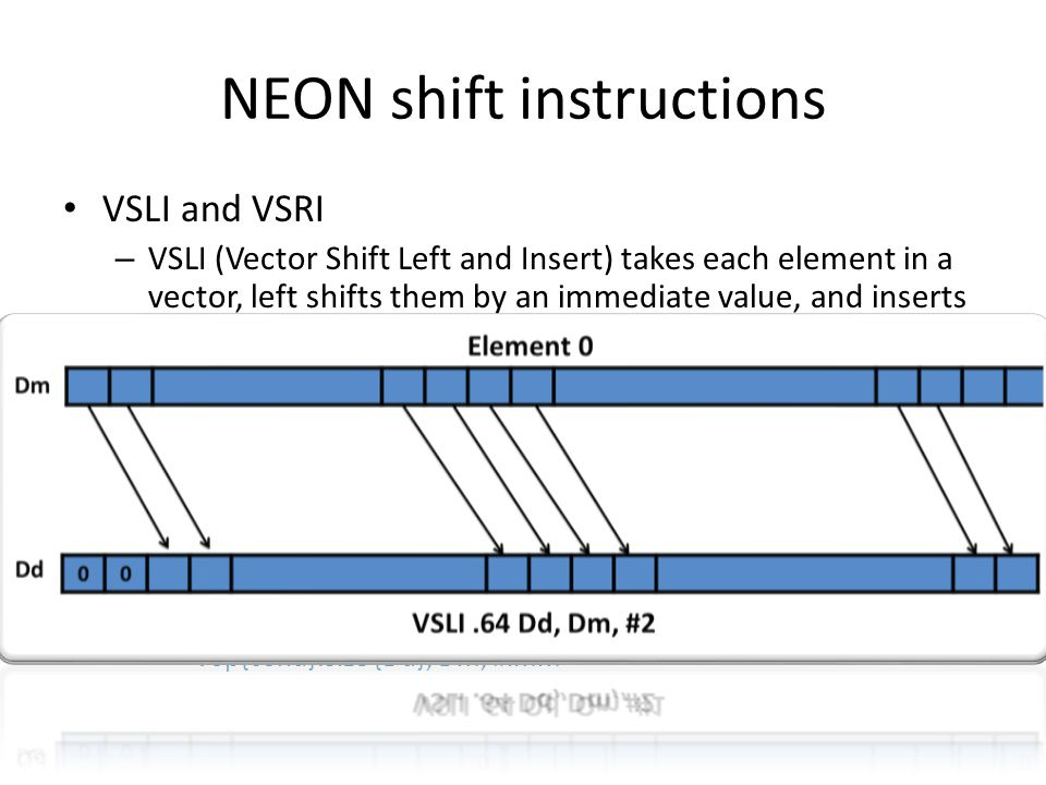 NEON shift instructions VSLI and VSRI – VSLI (Vector Shift Left and Insert) takes each element in a vector, left shifts them by an immediate value, an