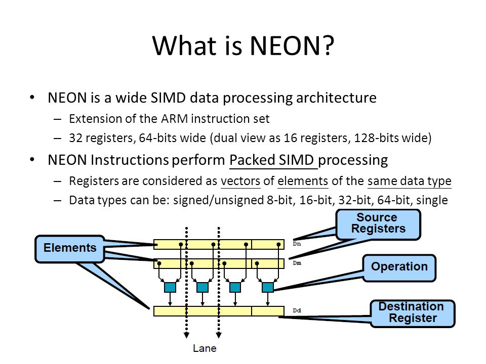 What is NEON? NEON is a wide SIMD data processing architecture – Extension of the ARM instruction set – 32 registers, 64-bits wide (dual view as 16 re