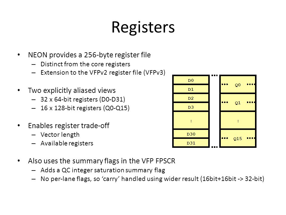 Vectors and Scalars Registers hold one or more elements of the same data type – Vn can be used to reference either a 64-bit Dn or 128-bit Qn register – A register, data type combination describes a vector of elements Some instructions can reference individual scalar elements – Scalar elements are referenced using the array notation Vn[x] Array ordering is always from the least significant bit