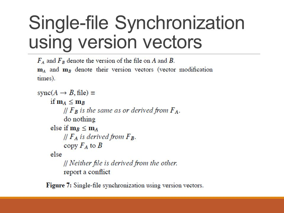 Single-file Synchronization using version vectors
