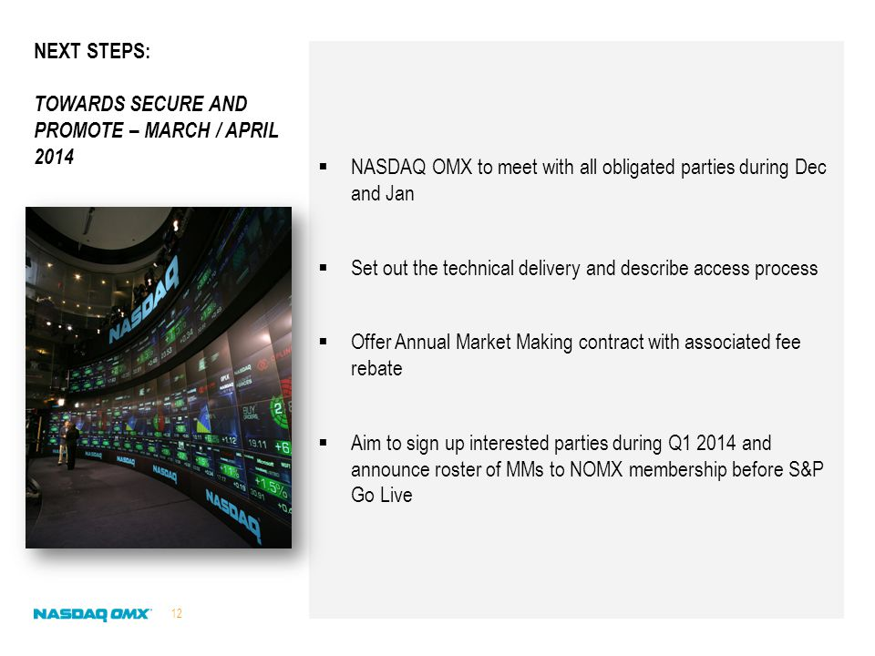 NASDAQ OMX to meet with all obligated parties during Dec and Jan  Set out the technical delivery and describe access process  Offer Annual Market