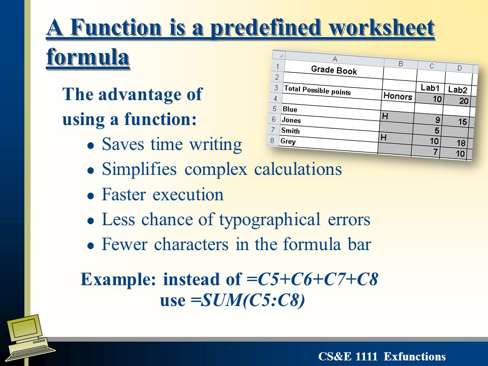 CS&E 1111 Exfunctions A Function is a predefined worksheet formula The advantage of using a function: l Saves time writing l Simplifies complex calculations l Faster execution l Less chance of typographical errors l Fewer characters in the formula bar Example: instead of =C5+C6+C7+C8 use =SUM(C5:C8)