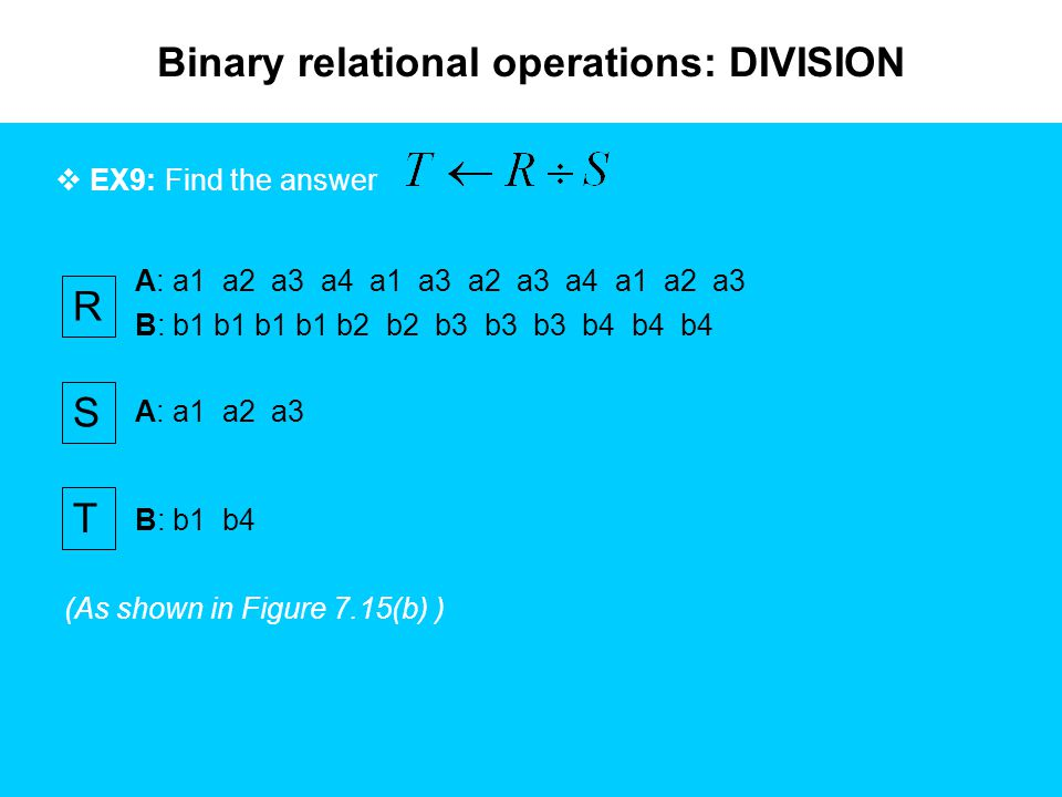 Binary relational operations: DIVISION  EX9: Find the answer A: a1 a2 a3 a4 a1 a3 a2 a3 a4 a1 a2 a3 B: b1 b1 b1 b1 b2 b2 b3 b3 b3 b4 b4 b4 R S A: a1 a2 a3 T B: b1 b4 (As shown in Figure 7.15(b) )