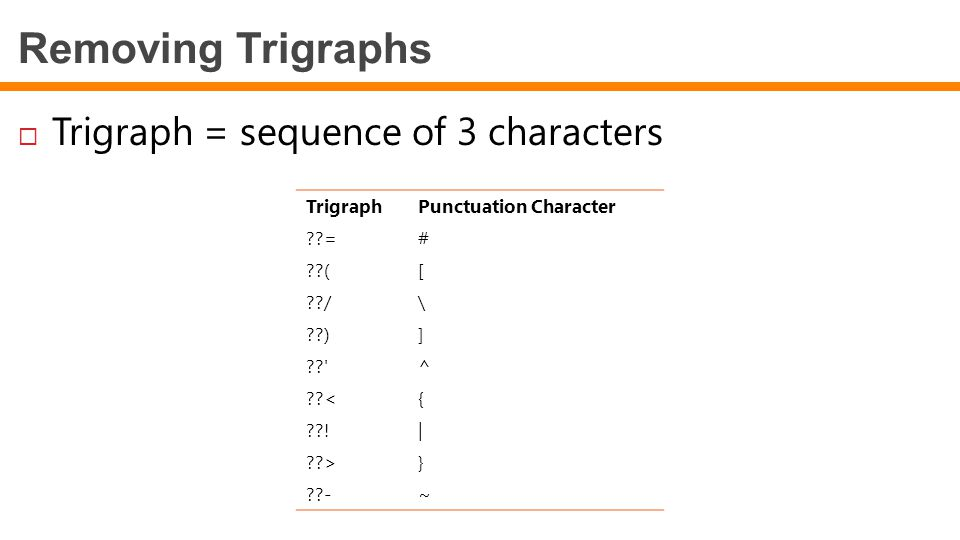 Removing Trigraphs  Trigraph = sequence of 3 characters TrigraphPunctuation Character ??=# ??([ ??/\ ??)] ?? ^ ??<{ ??!  ??>} ??-~