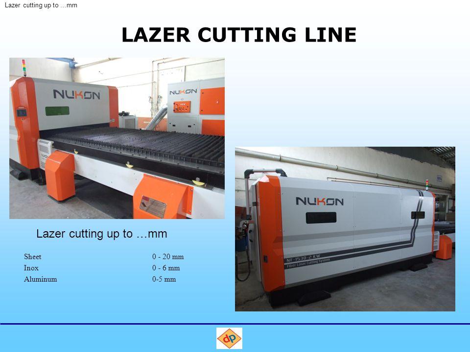 LAZER CUTTING LINE Sheet0 - 20 mm Inox0 - 6 mm Aluminum0-5 mm Lazer cutting up to …mm
