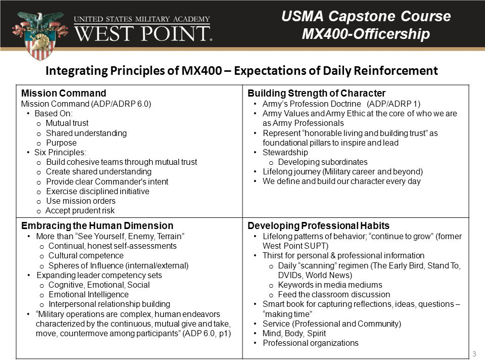 3 USMA Capstone Course MX400-Officership Mission Command Mission Command (ADP/ADRP 6.0) Based On: o Mutual trust o Shared understanding o Purpose Six Principles: o Build cohesive teams through mutual trust o Create shared understanding o Provide clear Commander s intent o Exercise disciplined initiative o Use mission orders o Accept prudent risk Building Strength of Character Army's Profession Doctrine (ADP/ADRP 1) Army Values and Army Ethic at the core of who we are as Army Professionals Represent honorable living and building trust as foundational pillars to inspire and lead Stewardship o Developing subordinates Lifelong journey (Military career and beyond) We define and build our character every day Embracing the Human Dimension More than See Yourself, Enemy, Terrain o Continual, honest self-assessments o Cultural competence o Spheres of Influence (internal/external) Expanding leader competency sets o Cognitive, Emotional, Social o Emotional Intelligence o Interpersonal relationship building Military operations are complex, human endeavors characterized by the continuous, mutual give and take, move, countermove among participants (ADP 6.0, p1) Developing Professional Habits Lifelong patterns of behavior; continue to grow (former West Point SUPT) Thirst for personal & professional information o Daily scanning regimen (The Early Bird, Stand To, DVIDs, World News) o Keywords in media mediums o Feed the classroom discussion Smart book for capturing reflections, ideas, questions – making time Service (Professional and Community) Mind, Body, Spirit Professional organizations Integrating Principles of MX400 – Expectations of Daily Reinforcement