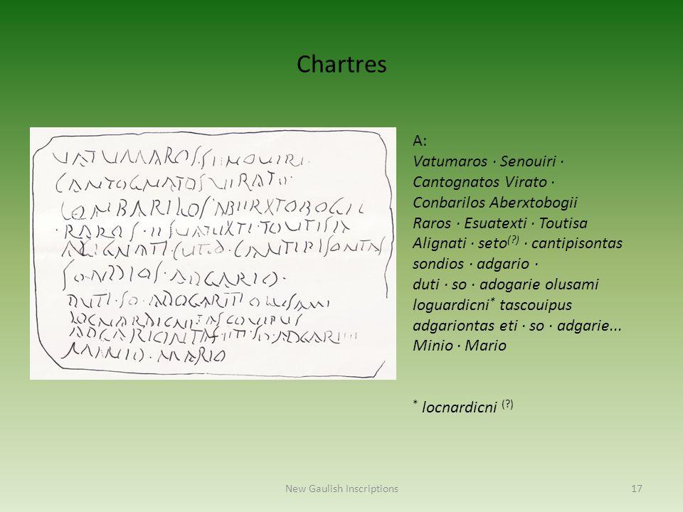 New Gaulish Inscriptions17 A: Vatumaros · Senouiri · Cantognatos Virato · Conbarilos Aberxtobogii Raros · Esuatexti · Toutisa Alignati · seto (?) · ca