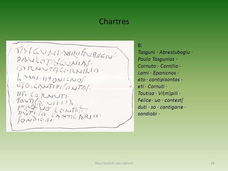 New Gaulish Inscriptions18 B: Tasguni · Abrestubogiu · Paulo Tasgunias · Cornuto · Cornilio · Lami · Eponicnos · eto · cantipisontas · eti · Cornuti ·