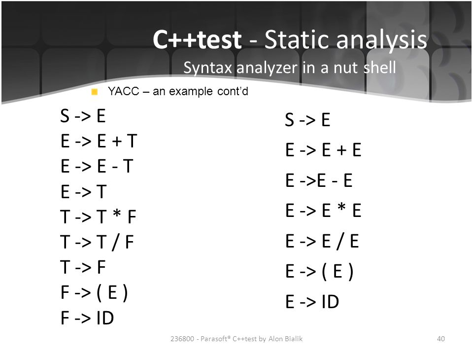 C++test - Static analysis Syntax analyzer in a nut shell YACC – an example cont'd S -> E E -> E + T E -> E - T E -> T T -> T * F T -> T / F T -> F F -