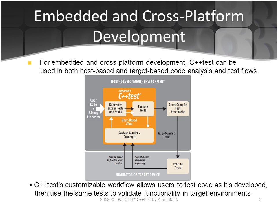 Embedded and Cross-Platform Development  C++test's customizable workflow allows users to test code as it's developed, then use the same tests to vali
