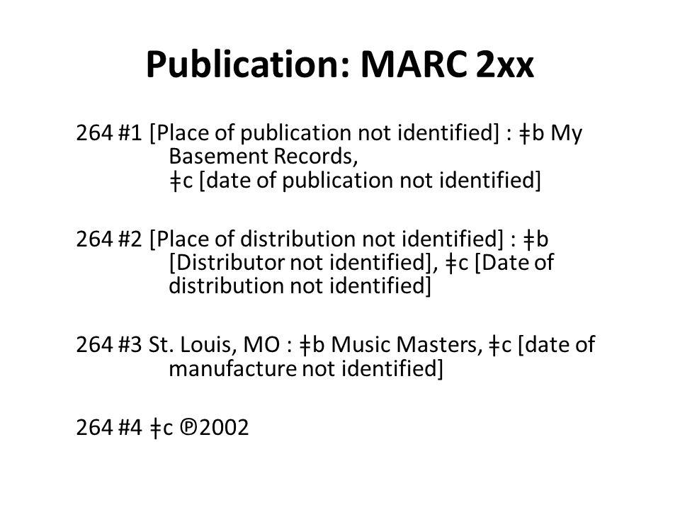 Publication: MARC 2xx 264 #1 [Place of publication not identified] : ǂb My Basement Records, ǂc [date of publication not identified] 264 #2 [Place of distribution not identified] : ǂb [Distributor not identified], ǂc [Date of distribution not identified] 264 #3 St.
