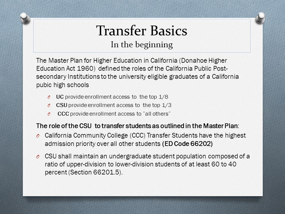 Transfer Basics In the beginning The Master Plan for Higher Education in California (Donahoe Higher Education Act 1960) defined the roles of the Calif