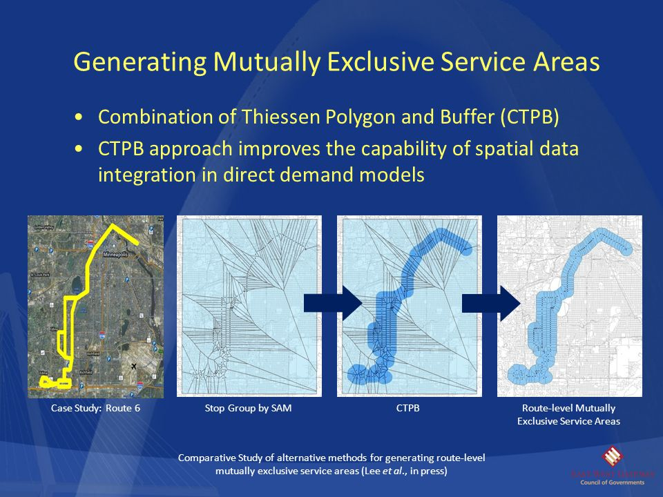 Combination of Thiessen Polygon and Buffer (CTPB) CTPB approach improves the capability of spatial data integration in direct demand models Generating