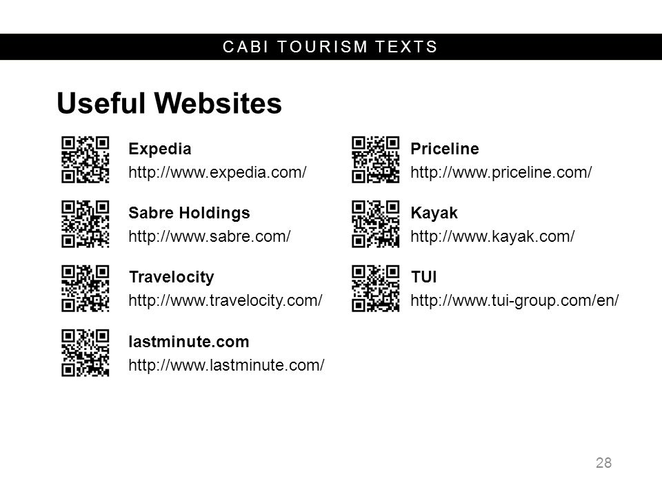 CABI TOURISM TEXTS Useful Websites 28 Expedia http://www.expedia.com/ Priceline http://www.priceline.com/ Sabre Holdings http://www.sabre.com/ Kayak h