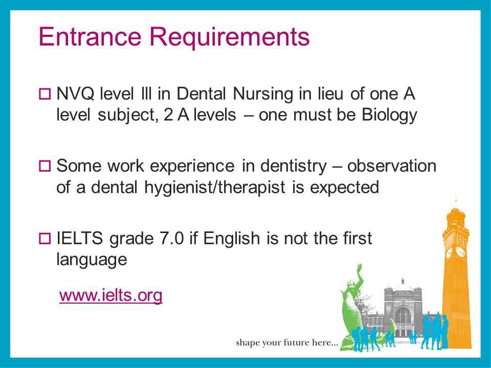 Entrance Requirements  NVQ level lll in Dental Nursing in lieu of one A level subject, 2 A levels – one must be Biology  Some work experience in den