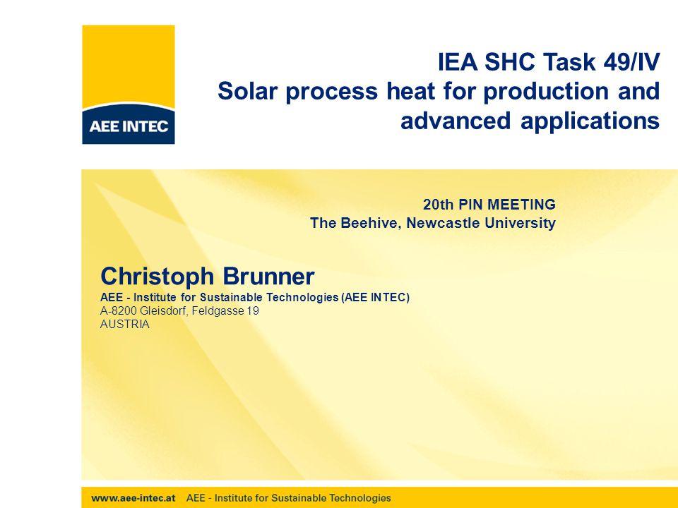 PIN, Newcastle 02052012 Subtask B objectives Advanced heat integration  Methodology for advanced integration (incl.