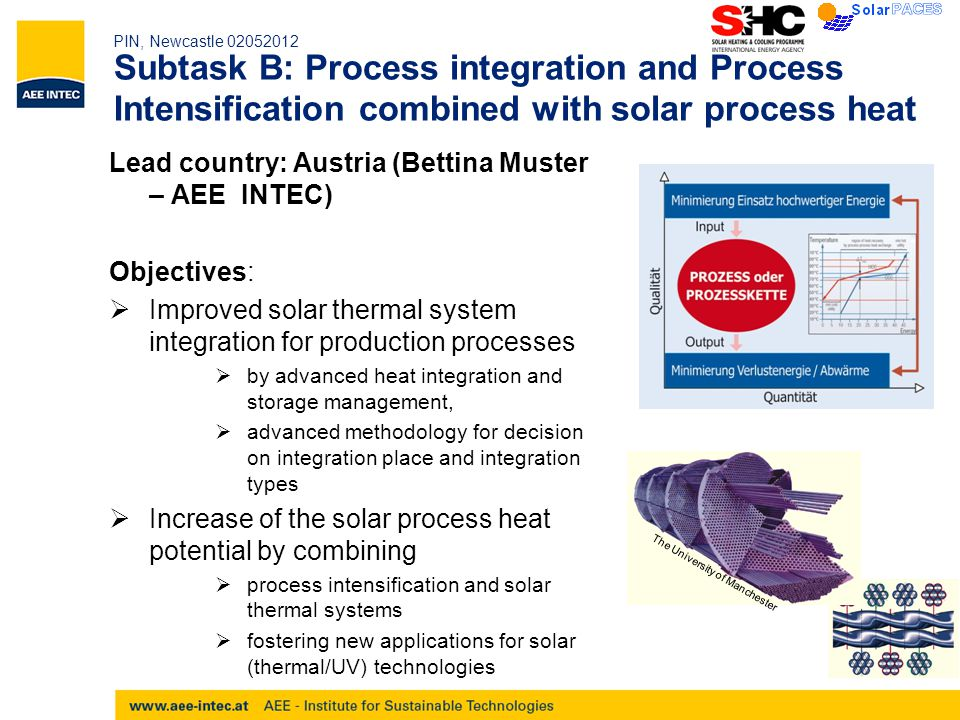 PIN, Newcastle 02052012 Subtask B: Process integration and Process Intensification combined with solar process heat Lead country: Austria (Bettina Muster – AEE INTEC) Objectives:  Improved solar thermal system integration for production processes  by advanced heat integration and storage management,  advanced methodology for decision on integration place and integration types  Increase of the solar process heat potential by combining  process intensification and solar thermal systems  fostering new applications for solar (thermal/UV) technologies The University of Manchester