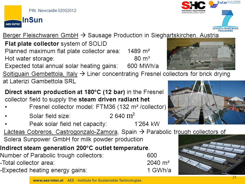 PIN, Newcastle 02052012 21 Berger Fleischwaren GmbH  Sausage Production in Sieghartskirchen, Austria Flat plate collector system of SOLID Planned maximum flat plate collector area:1489 m² Hot water storage: 80 m³ Expected total annual solar heating gains: 600 MWh/a InSun Soltiguain Gembettola, Italy  Liner concentrating Fresnel collectors for brick drying at Laterizi Gambettola SRL Direct steam production at 180°C (12 bar) in the Fresnel collector field to supply the steam driven radiant het Fresnel collector model: FTM36 (132 m² /collector) Solar field size: 2 640 m² Peak solar field net capacity: 1'264 kW Lácteas Cobreros, Castrogonzalo-Zamora, Spain  Parabolic trough collectors of Solera Sunpower GmbH for milk powder production Indirect steam generation 200°C outlet temperature.