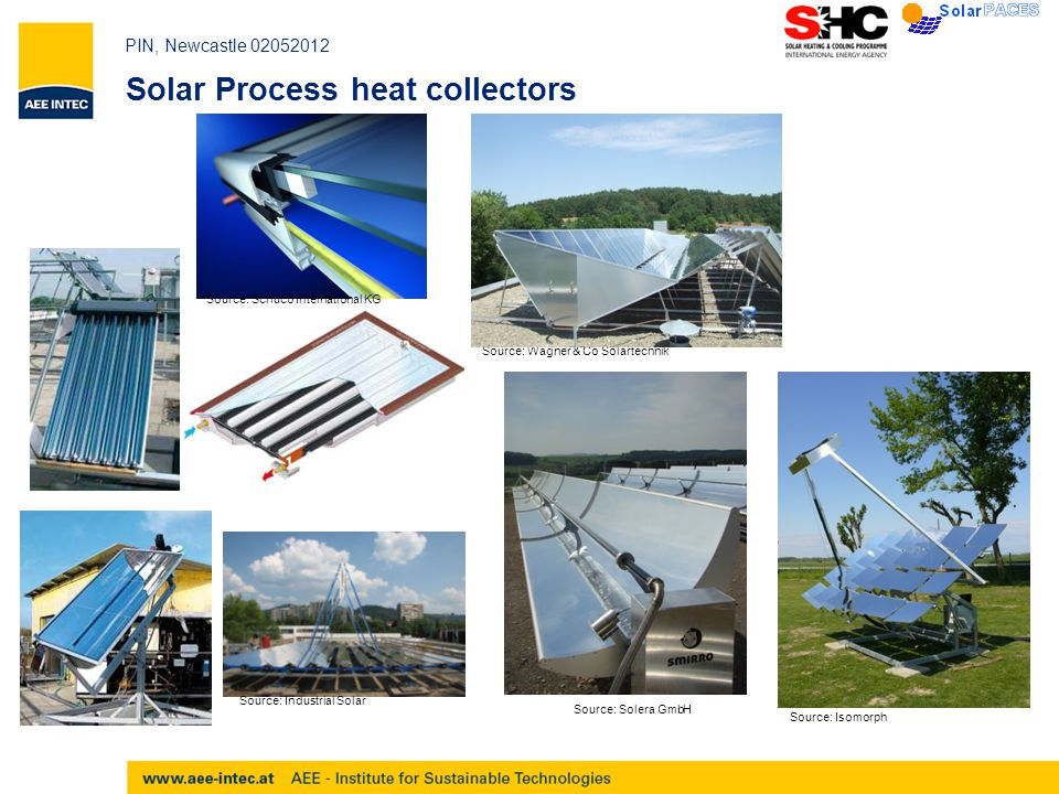 PIN, Newcastle 02052012 Solar Process heat collectors Source: Schüco International KG Source: Wagner & Co Solartechnik Source: Solera GmbH Source: Industrial Solar Source: Isomorph