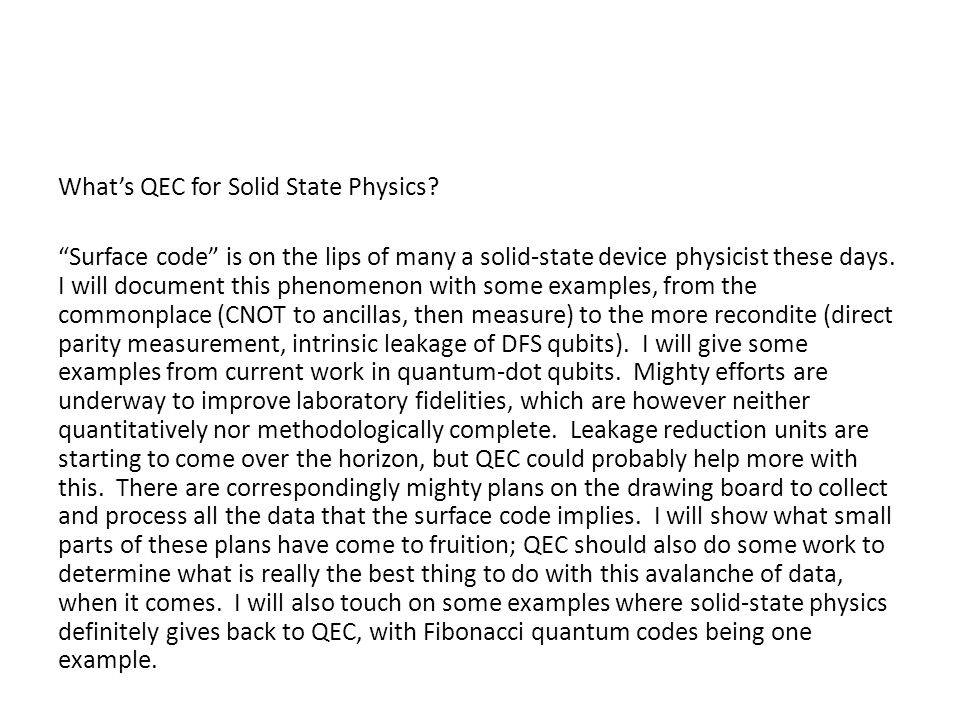 What's QEC for Solid State Physics.
