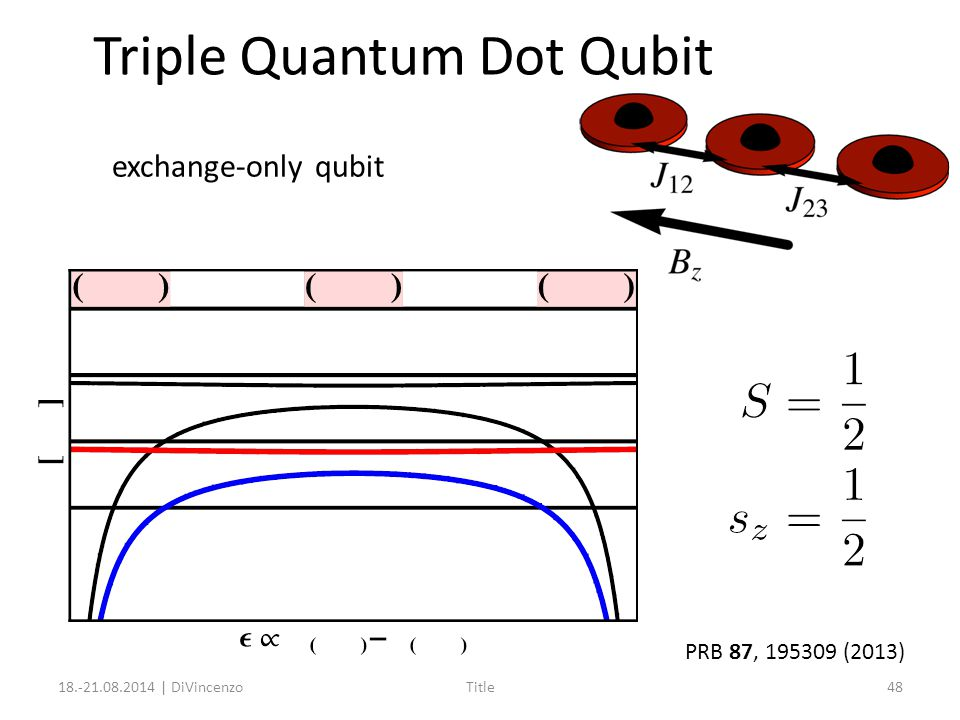 Triple Quantum Dot Qubit 18.-21.08.2014 | DiVincenzoTitle48 PRB 87, 195309 (2013) exchange-only qubit