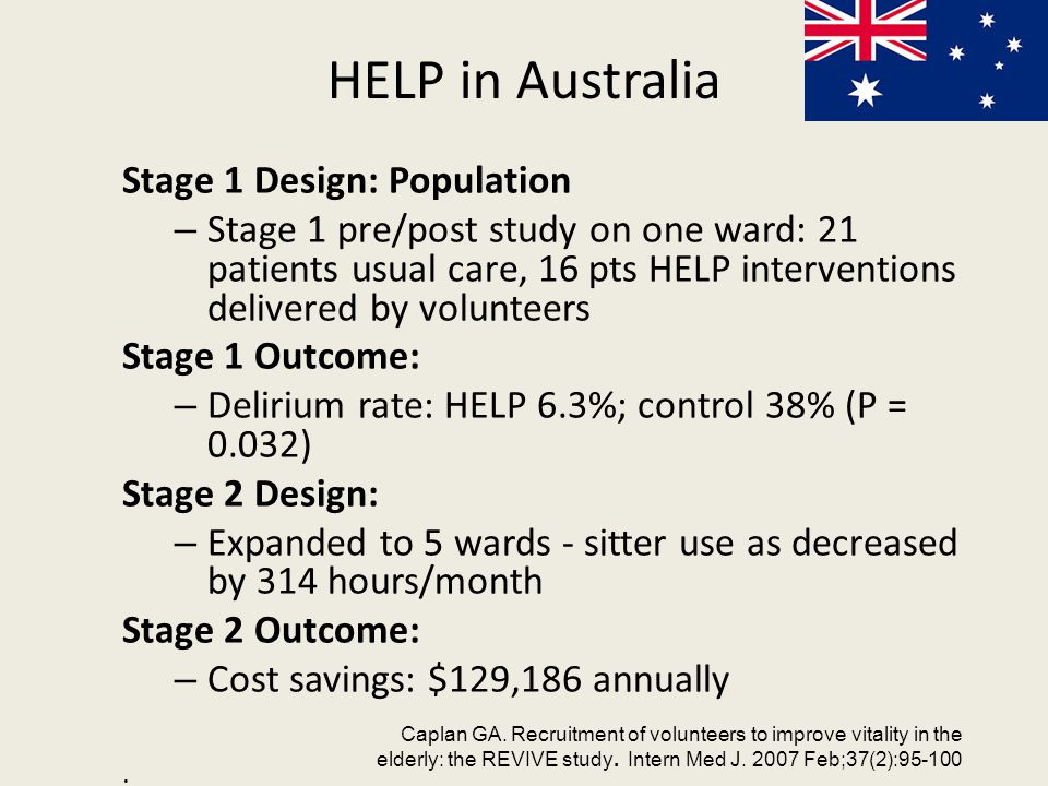 HELP in Australia Stage 1 Design: Population – Stage 1 pre/post study on one ward: 21 patients usual care, 16 pts HELP interventions delivered by volunteers Stage 1 Outcome: – Delirium rate: HELP 6.3%; control 38% (P = 0.032) Stage 2 Design: – Expanded to 5 wards - sitter use as decreased by 314 hours/month Stage 2 Outcome: – Cost savings: $129,186 annually.