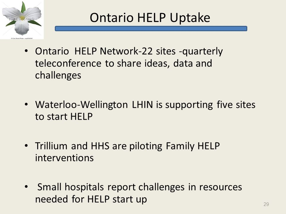 Ontario HELP Uptake Ontario HELP Network-22 sites -quarterly teleconference to share ideas, data and challenges Waterloo-Wellington LHIN is supporting five sites to start HELP Trillium and HHS are piloting Family HELP interventions Small hospitals report challenges in resources needed for HELP start up 29