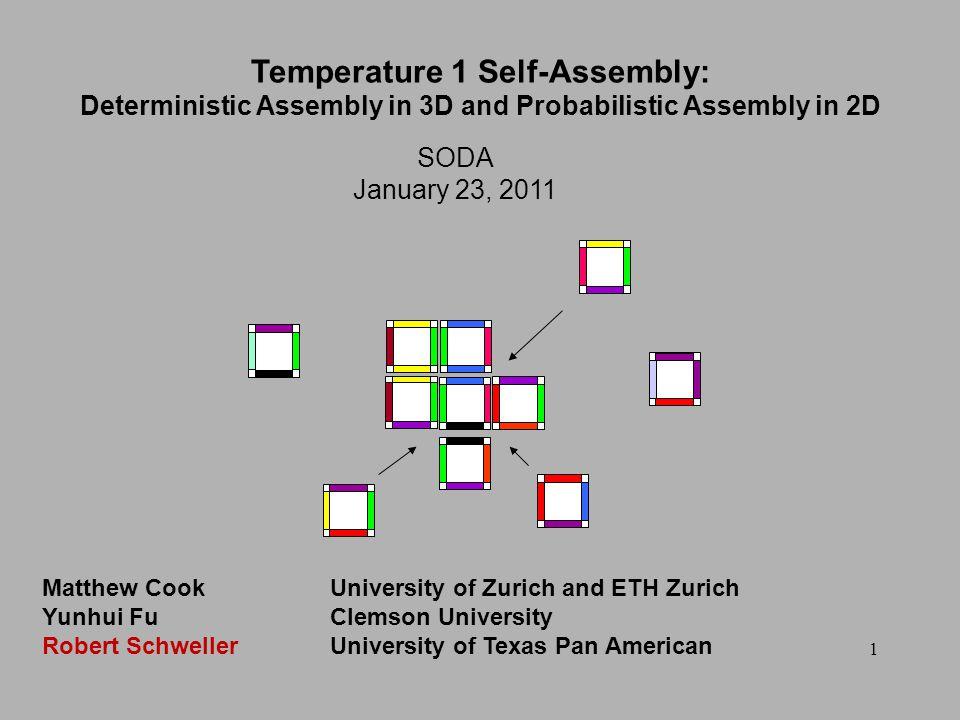 1 SODA January 23, 2011 Temperature 1 Self-Assembly: Deterministic Assembly in 3D and Probabilistic Assembly in 2D Matthew CookUniversity of Zurich an
