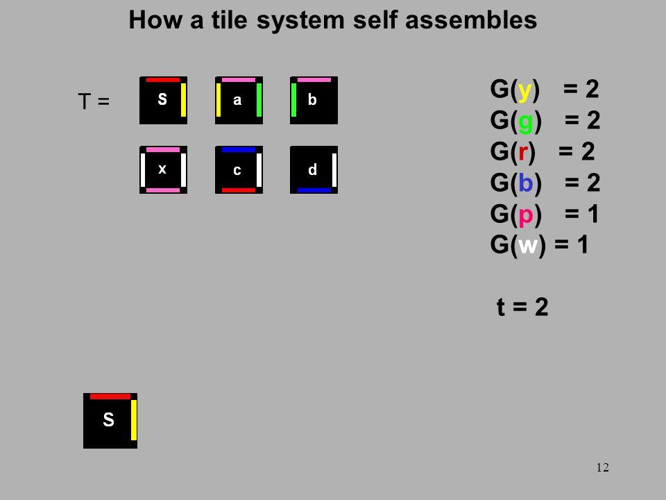 12 How a tile system self assembles T = G(y) = 2 G(g) = 2 G(r) = 2 G(b) = 2 G(p) = 1 G(w) = 1 t = 2