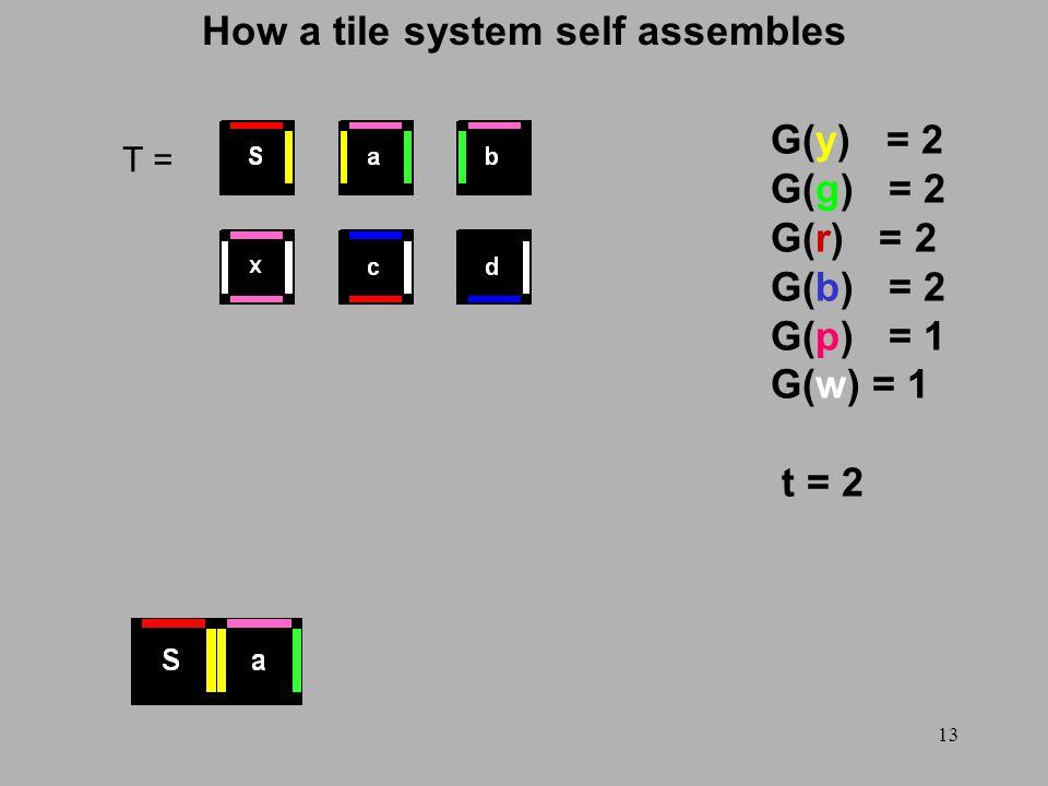 13 How a tile system self assembles T = G(y) = 2 G(g) = 2 G(r) = 2 G(b) = 2 G(p) = 1 G(w) = 1 t = 2