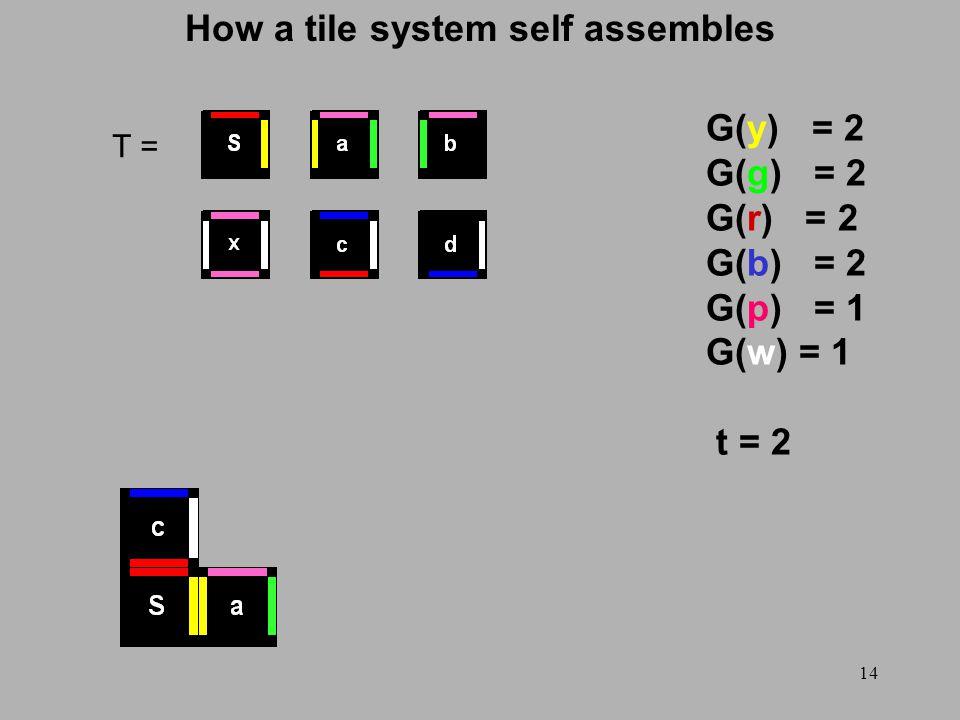 14 How a tile system self assembles T = G(y) = 2 G(g) = 2 G(r) = 2 G(b) = 2 G(p) = 1 G(w) = 1 t = 2
