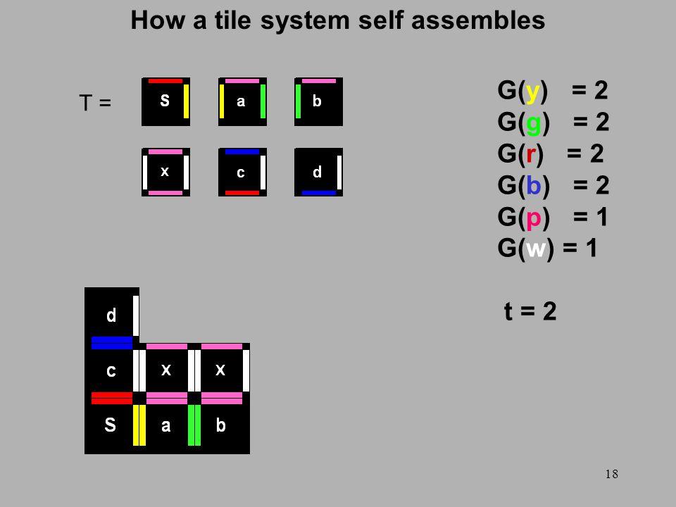 18 How a tile system self assembles T = G(y) = 2 G(g) = 2 G(r) = 2 G(b) = 2 G(p) = 1 G(w) = 1 t = 2