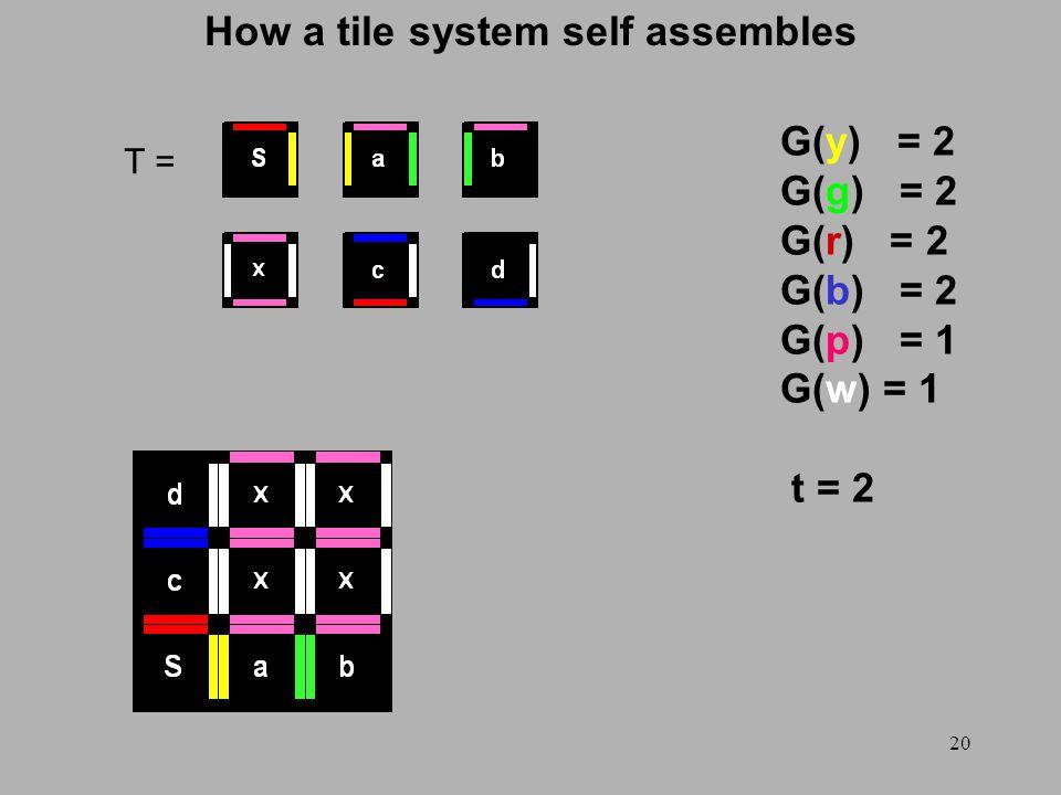 20 How a tile system self assembles T = G(y) = 2 G(g) = 2 G(r) = 2 G(b) = 2 G(p) = 1 G(w) = 1 t = 2