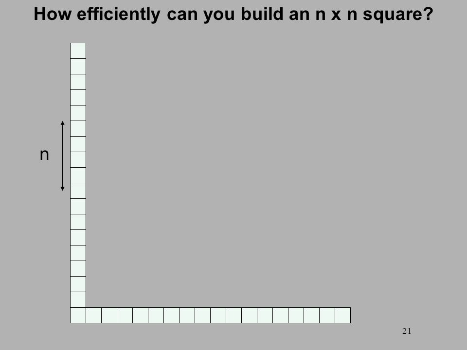 21 How efficiently can you build an n x n square n