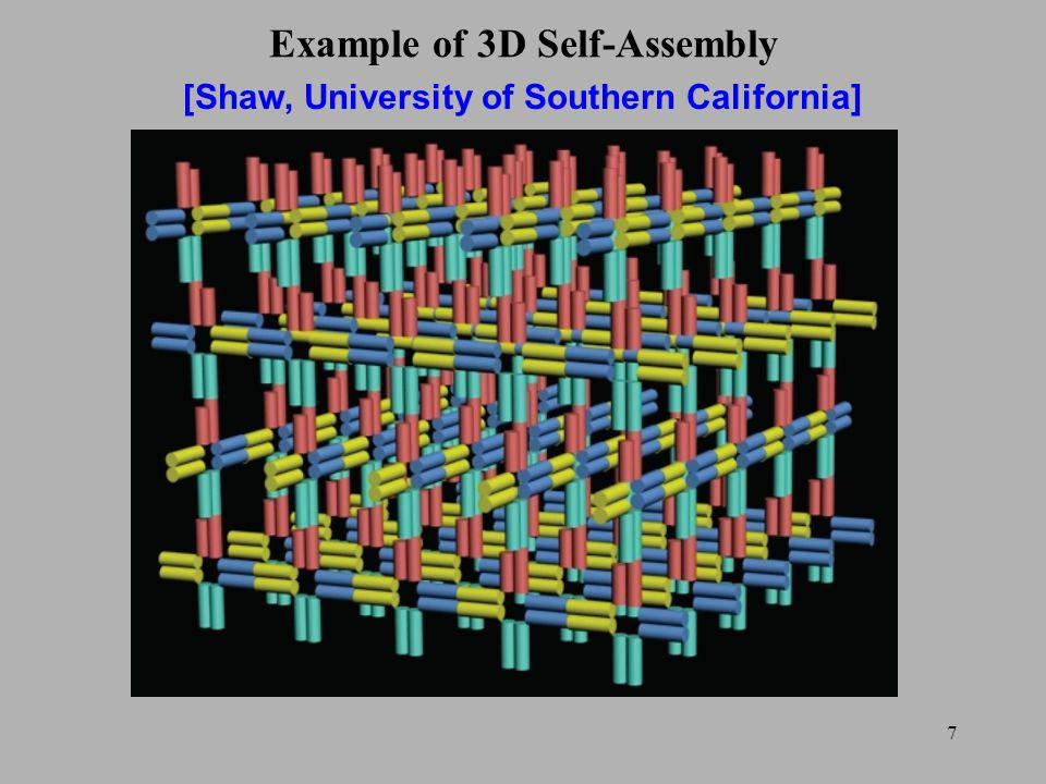 7 Example of 3D Self-Assembly [Shaw, University of Southern California]