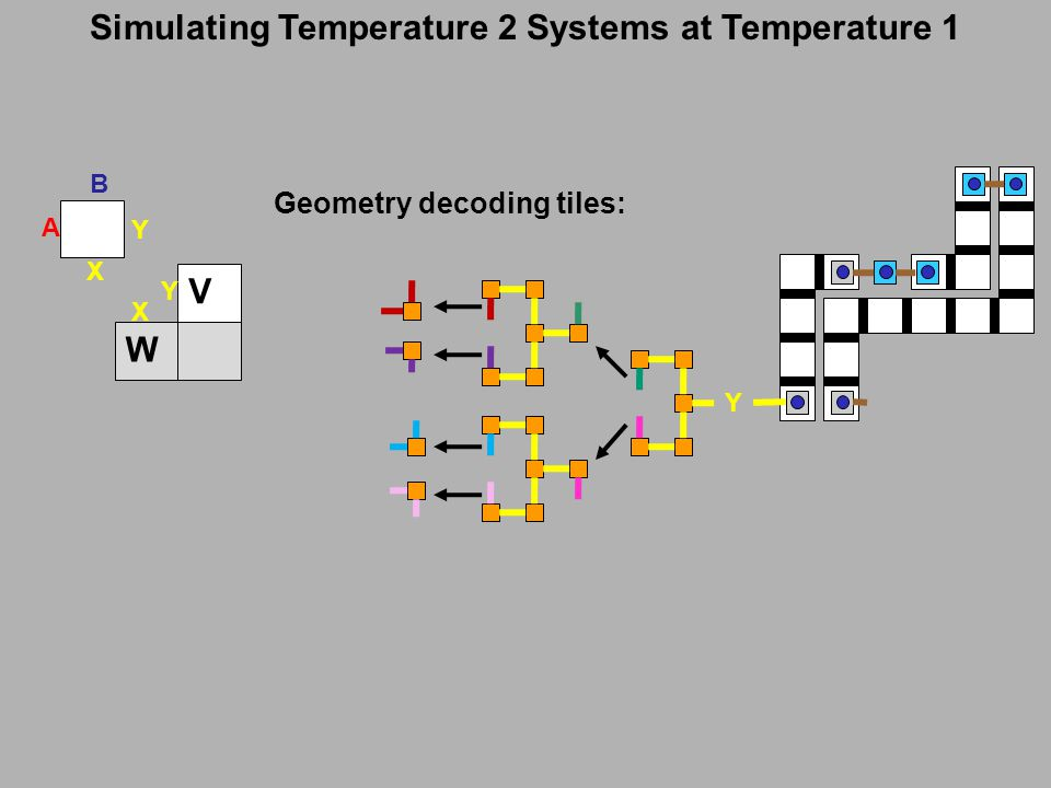 Simulating Temperature 2 Systems at Temperature 1 Y Geometry decoding tiles: Y X A B W V Y X