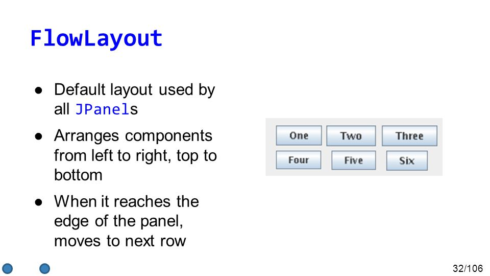 32/106 FlowLayout ●Default layout used by all JPanel s ●Arranges components from left to right, top to bottom ●When it reaches the edge of the panel,