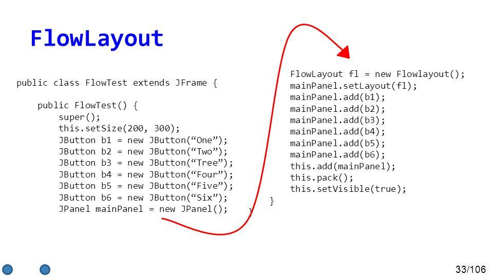 33/106 public class FlowTest extends JFrame { public FlowTest() { super(); this.setSize(200, 300); JButton b1 = new JButton( One ); JButton b2 = new JButton( Two ); JButton b3 = new JButton( Tree ); JButton b4 = new JButton( Four ); JButton b5 = new JButton( Five ); JButton b6 = new JButton( Six ); JPanel mainPanel = new JPanel(); FlowLayout fl = new Flowlayout(); mainPanel.setLayout(fl); mainPanel.add(b1); mainPanel.add(b2); mainPanel.add(b3); mainPanel.add(b4); mainPanel.add(b5); mainPanel.add(b6); this.add(mainPanel); this.pack(); this.setVisible(true); } FlowLayout