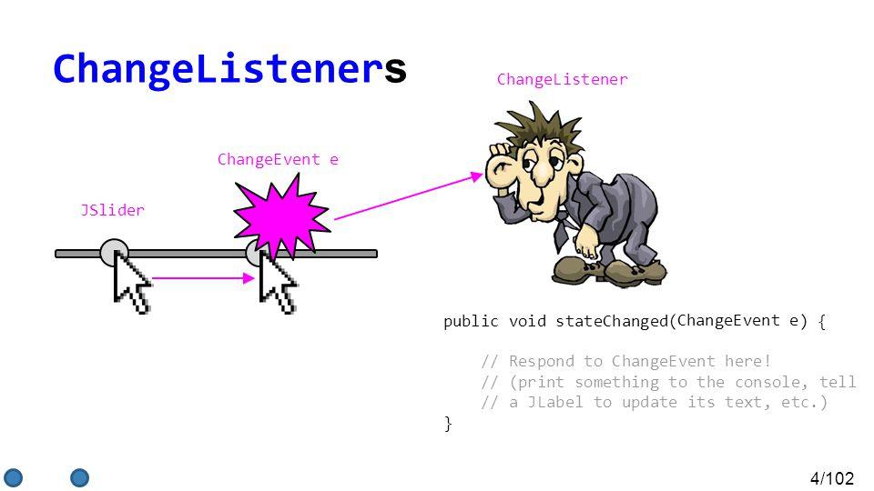 4/102 ChangeListener s ChangeListener public void stateChanged( ) { // Respond to ChangeEvent here.
