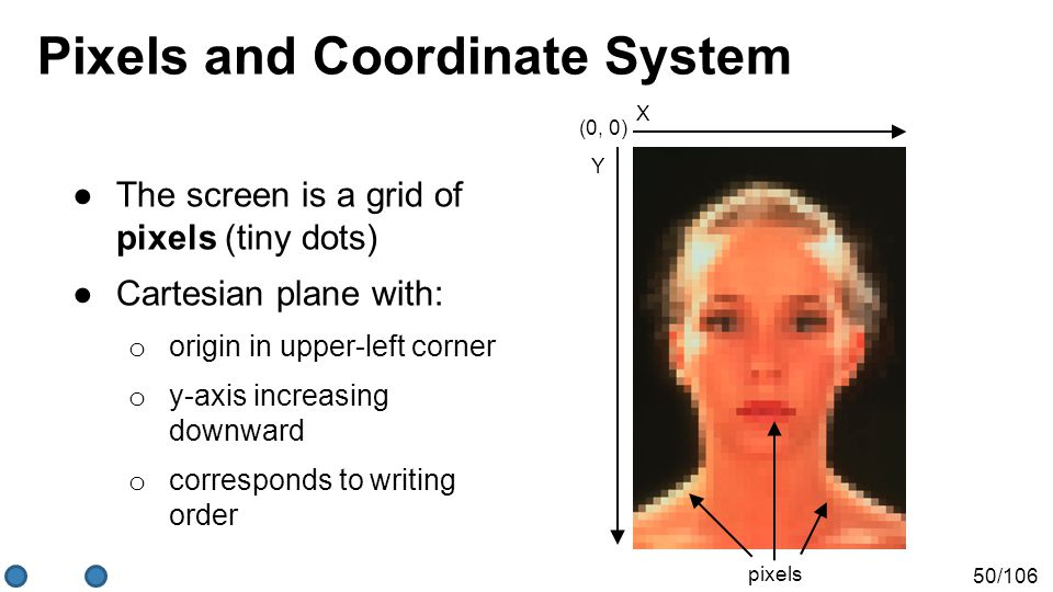 50/106 Pixels and Coordinate System ●The screen is a grid of pixels (tiny dots) ●Cartesian plane with: o origin in upper-left corner o y-axis increasi