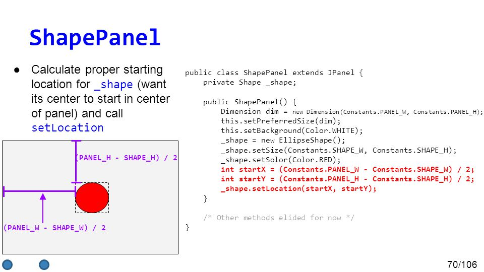 70/106 ShapePanel ●Calculate proper starting location for _shape (want its center to start in center of panel) and call setLocation (PANEL_W - SHAPE_W) / 2 (PANEL_H - SHAPE_H) / 2 public class ShapePanel extends JPanel { private Shape _shape; public ShapePanel() { Dimension dim = new Dimension(Constants.PANEL_W, Constants.PANEL_H); this.setPreferredSize(dim); this.setBackground(Color.WHITE); _shape = new EllipseShape(); _shape.setSize(Constants.SHAPE_W, Constants.SHAPE_H); _shape.setSolor(Color.RED); int startX = (Constants.PANEL_W - Constants.SHAPE_W) / 2; int startY = (Constants.PANEL_H - Constants.SHAPE_H) / 2; _shape.setLocation(startX, startY); } /* Other methods elided for now */ }