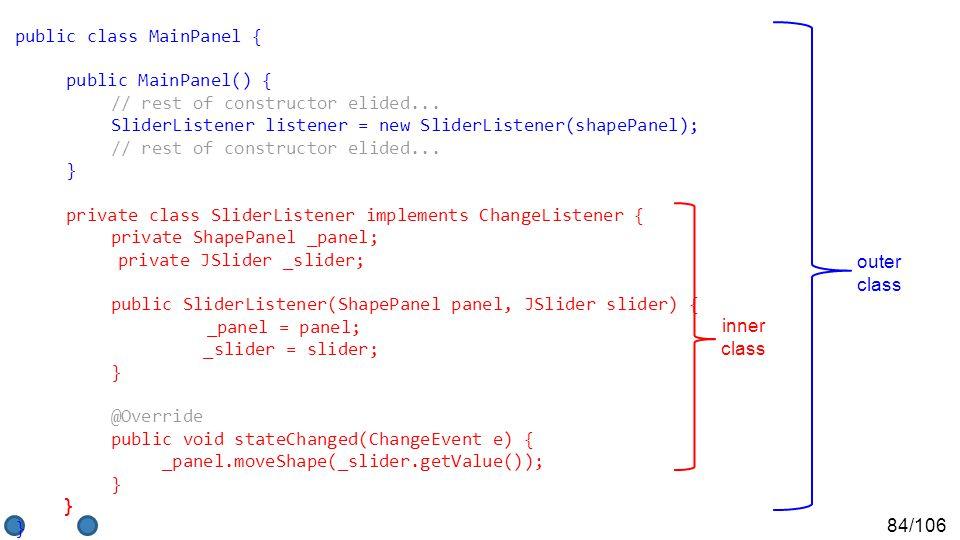 84/106 public class MainPanel { public MainPanel() { // rest of constructor elided...