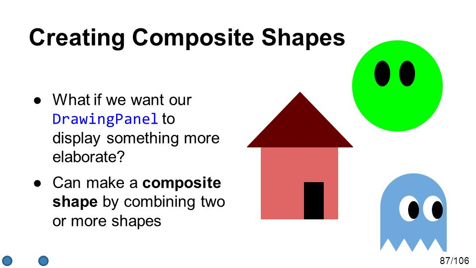 87/106 Creating Composite Shapes ●What if we want our DrawingPanel to display something more elaborate? ●Can make a composite shape by combining two o
