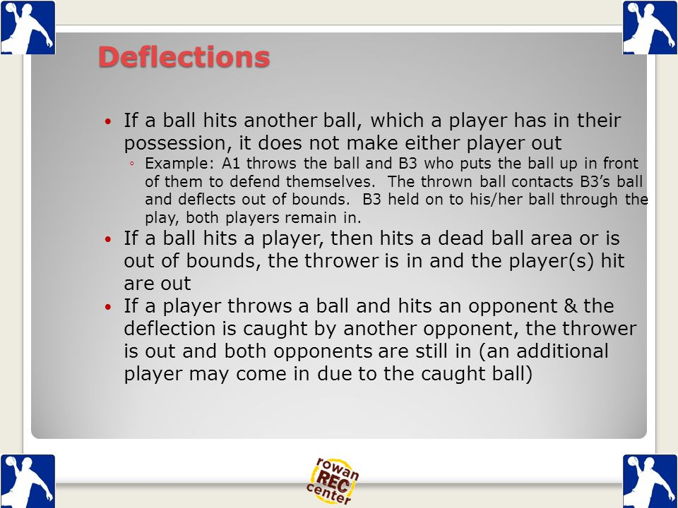 Deflections If a ball hits another ball, which a player has in their possession, it does not make either player out ◦Example: A1 throws the ball and B3 who puts the ball up in front of them to defend themselves.