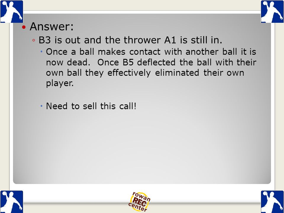 Answer: ◦B3 is out and the thrower A1 is still in.