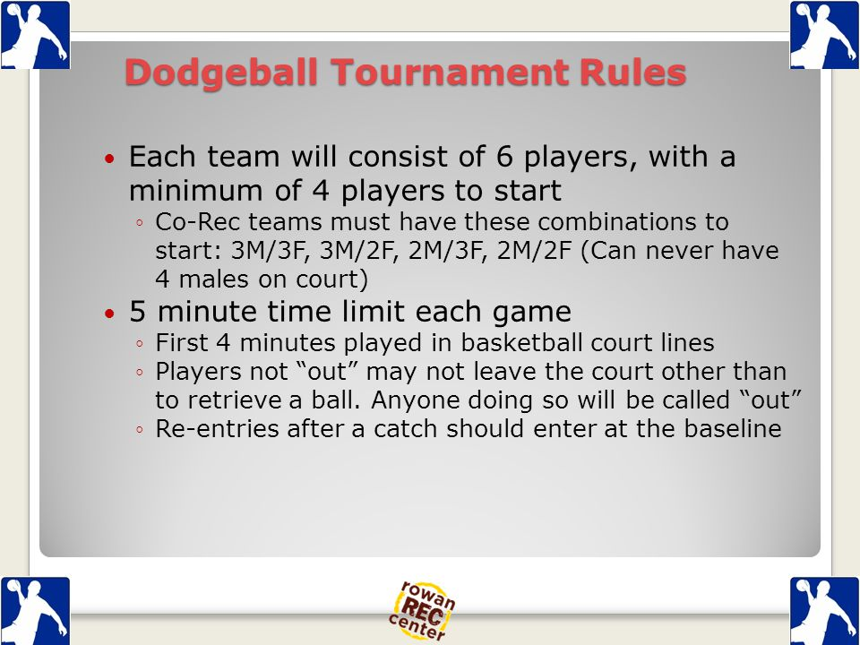 Dodgeball Tournament Rules Each team will consist of 6 players, with a minimum of 4 players to start ◦Co-Rec teams must have these combinations to start: 3M/3F, 3M/2F, 2M/3F, 2M/2F (Can never have 4 males on court) 5 minute time limit each game ◦First 4 minutes played in basketball court lines ◦Players not out may not leave the court other than to retrieve a ball.