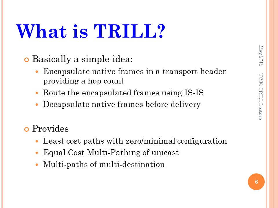 What is TRILL? May 2012 6 UCSC TRILL Lecture Basically a simple idea: Encapsulate native frames in a transport header providing a hop count Route the