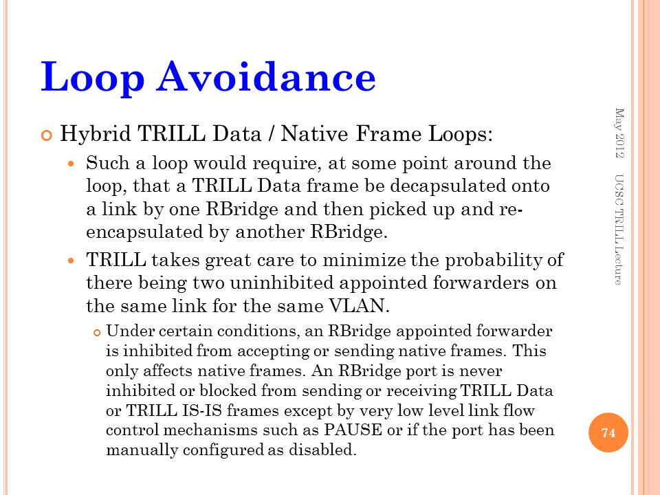 Loop Avoidance Hybrid TRILL Data / Native Frame Loops: Such a loop would require, at some point around the loop, that a TRILL Data frame be decapsulat