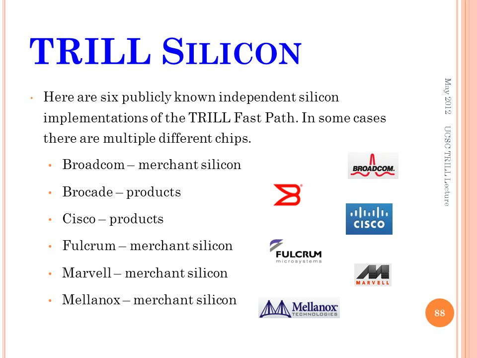 TRILL S ILICON Here are six publicly known independent silicon implementations of the TRILL Fast Path.