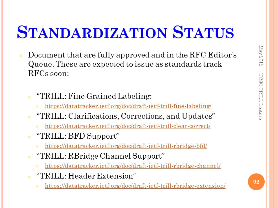 S TANDARDIZATION S TATUS Document that are fully approved and in the RFC Editor's Queue.